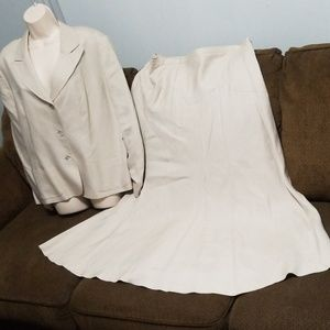 Bloomingdale's tan maxi skirt business suit